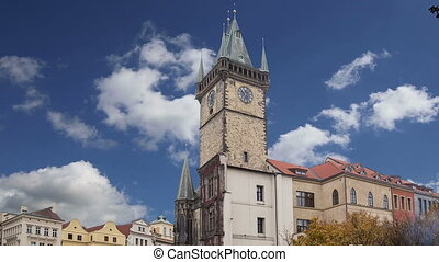 Old Town City Hall in Prague, view from Old Town Square,...