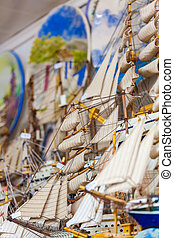 Wooden Ship Miniature Models Souvenir Shop, Crete, Greece