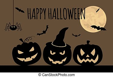 Halloween holiday graphic template. Flat icons. Vector...