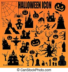 Halloween holiday constructor. Graphic template. Flat icons....
