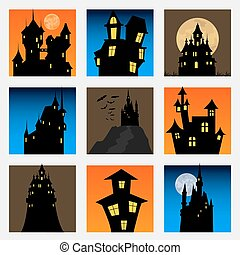 Misterious house in the dark night Halloween holiday Flat...