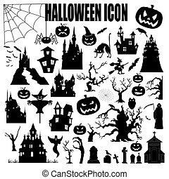 Halloween holiday constructor Graphic template Flat icons...