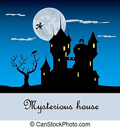 Misterious house in the dark night. Halloween holiday. Flat...