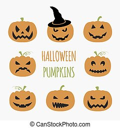 Halloween pumpkins set. Graphic template. Flat icons. Vector...