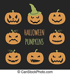 Halloween pumpkins set Graphic template Flat icons Vector...