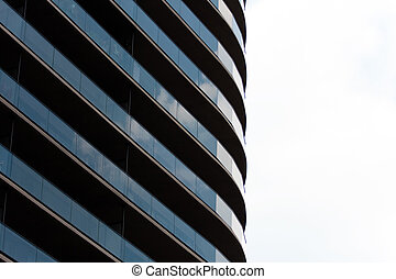 Contemporary High Rise - Closeup detail of the windows at...