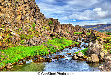 Water in a fissure between tectonic plates in the...