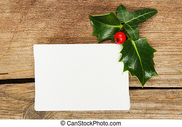 Canvas and Christmas motif - Blank canvas with holly and ivy...