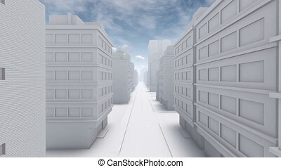 Abstract white city empty street - Flight through straight...