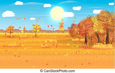 Autumn nature landscape with forest and field. vector...