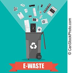 e-waste recycle bin with old electronic equipment - e-waste...