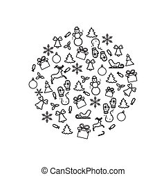 Vector illustration of different new year and christmas...