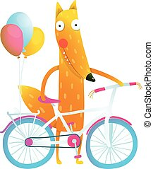 Cartoon red funny fox with bicycle and balloons - Funny...