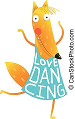 Cartoon cute orange fox in dress with text Love Dancing