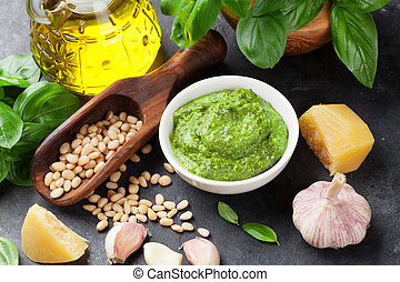 Pesto sauce ingredients - Pesto sauce cooking. Basil, olive...