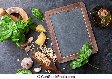 Pesto sauce ingredients - Pesto sauce cooking. Basil, olive...