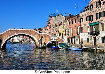 Cannaregio Canal, Venice - Ponte dei Tre Archi spanning the...