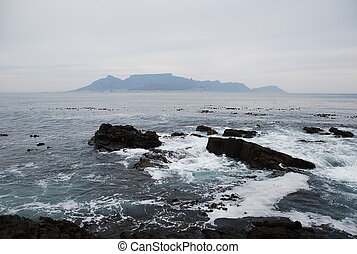 Table Mountain seen from Robben Island, Cape Town