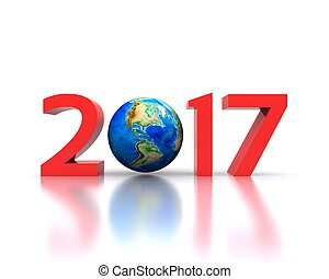 2017 - 3D background with new year coming - 2017