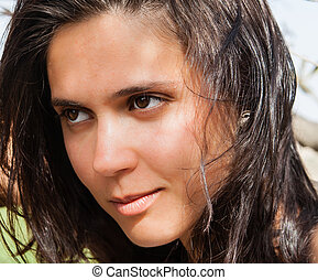 Portrait of a beautiful young brunette