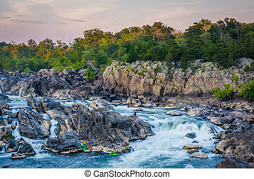 View of rapids in the Potomac River at sunset, at Great...