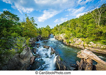 Rapids in the Potomac River at Great Falls, seen from...