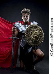 Conqueror, centurion or Roman warrior with iron armor,...