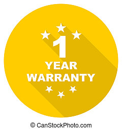 warranty guarantee 1 year flat design yellow web icon -...