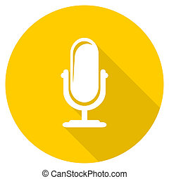 microphone flat design yellow web icon - microphone flat...