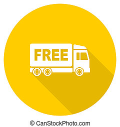 free delivery flat design yellow web icon - free delivery...