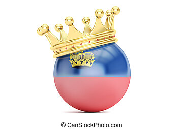 Crown with flag of Principality of Liechtenstein, 3D...