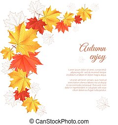Autumn horizontal banner. - Autumn orange, red, yellow maple...