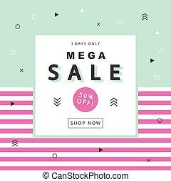 Mega Sale Banner - Mega Sale banner with geometric shapes in...