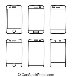 Smartphone icon vector set isolated