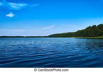 Beautiful panoramic view of the Lemiet lake in Mazury...