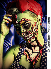 pin-up zombie girl - Glamorous zombie girl Portrait of a...