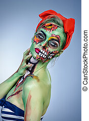 zombie make-up - Glamorous zombie girl Portrait of a pin-up...