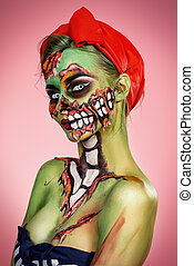 beautiful zombie - Portrait of a pin-up zombie woman over...