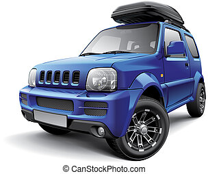 Asian off-road mini SUV with roof bag - High quality vector...