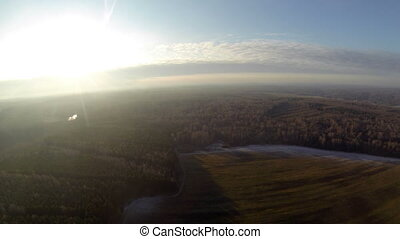 Breathtaking top view on forest and field - Breathtaking top...