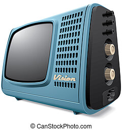 Vintage compact television receiver - High quality vector...