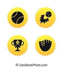 Baseball icons Ball with glove and bat symbols - Baseball...