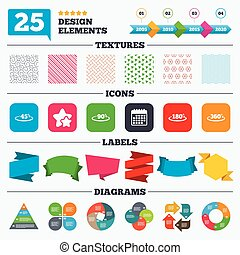 Angle degrees icons. Geometry math signs. - Offer sale tags,...