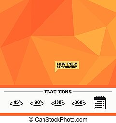 Angle degrees icons. Geometry math signs. - Triangular low...