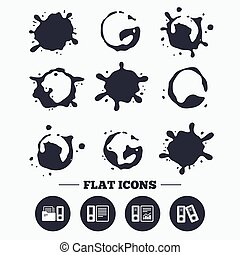 Accounting icons Document storage in folders - Paint, coffee...