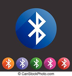 Bluetooth connection icon flat web sign symbol logo label...