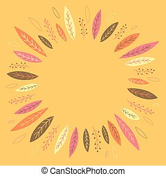 Funny autumn leaves forming a wreath. Banner. Place for text...
