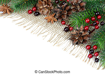 Christmas background - Christmas decoration on a rough...