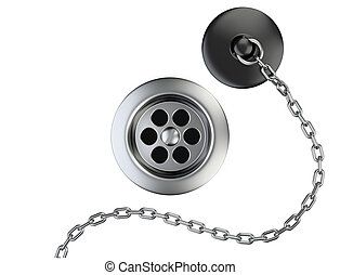 Stainless steel sink drain and rubber plug with chain...