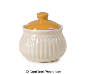 ceramic sugar bowl - closed ceramic sugar bowl on a white...